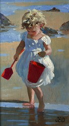 The Red Bucket by Sherree Valentine Daines - Original Painting on Board sized 7x12 inches. Available from Whitewall Galleries